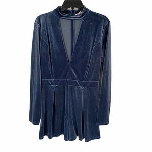 Velvet blue long sleeve cut out vneck romper
